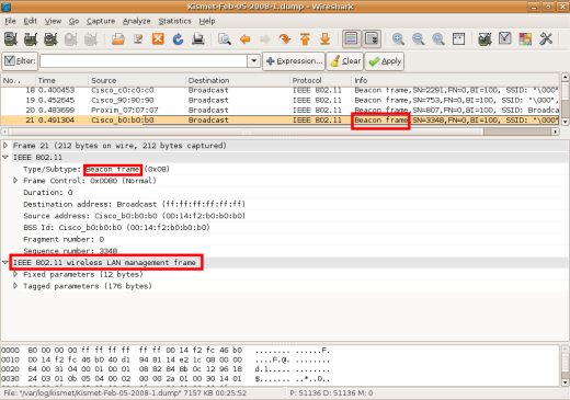 wireshark wireless frame management beacon